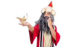Old wizard with lamp Royalty Free Stock Image