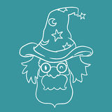 Old Wizard with Magic Hat inline style, Vector Illustration Stock Image