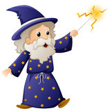 Old wizard with magic wand. Illustration Royalty Free Stock Image