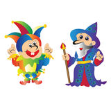 The old wizard Merlin and the jester show Royalty Free Stock Image