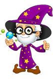 Old Wizard In Purple - With Crystal Balls Stock Image
