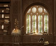 The alchemist chamber with an ancient book vector illustration