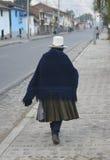Old Woman. Walking on a Peruvian street Stock Photos