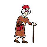 Old Woman. Old lady walking with a cane Royalty Free Stock Image
