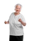 Old woman. Happly dancing old woman on white background Stock Images