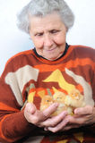 Old woman. With three chicken Stock Photos