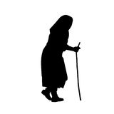 Old woman. A silhouette of an old woman Stock Photo