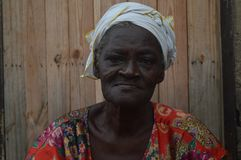 Old woman in Accra Ghana stock photo