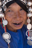 An old woman from the Akha ethnic group. MAE SALONG,  CHIANG RAI province , THAILAND - JUN, 2004 Royalty Free Stock Image