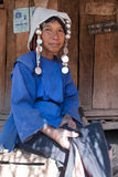 An old woman from the Akha ethnic group Stock Image