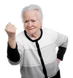 Old woman in angry gesture Royalty Free Stock Image