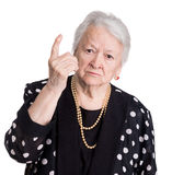 Old woman in angry gesture Stock Photography