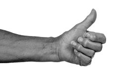 Old woman with arthritis giving the thumbs up sign Stock Photo
