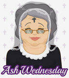 Old Woman with Ash Cross and Veil on Ash Wednesday, Vector Illustration Stock Photos