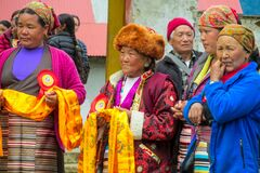 Free Old Woman At Traditional Buddha Anniversary Celebration Ceremony In Nepal Stock Photography - 199612672