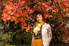55 year old woman in autumn park with colored leaves Stock Photos