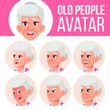 Old Woman Avatar Set Vector. Face Emotions. Senior Person Portrait. Elderly People. Aged. Head, Icon. Happiness. Enjoyment. Cartoon Illustration royalty free illustration