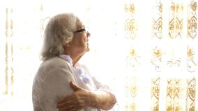 Old woman back pain stock footage