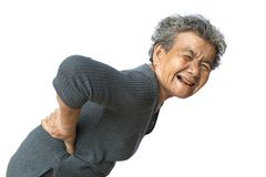 Old woman backache on white background Stock Photo