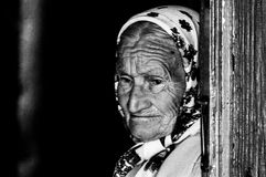 The old woman in the Belarusian village. Stock Photo
