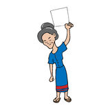 Old woman blank sheet cartoon Stock Photos