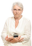Old woman blood pressure monitor Stock Photo
