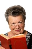 Old woman with the book. The old woman with the red book on a white background Royalty Free Stock Photo