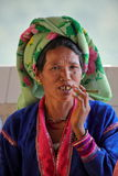 Old woman from Burma smoking a cigar Stock Images