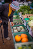 Old woman buying vegetables Stock Photos