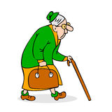 Old woman with cane and a bag. Grandmother with glasses walking. Stock Photography