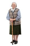 Old woman with a cane over white background Royalty Free Stock Photo