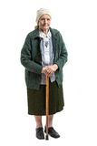 Old woman with a cane over white background Royalty Free Stock Photography