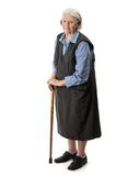 Old woman with a cane over Royalty Free Stock Photo