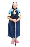 Old woman with a cane over white Royalty Free Stock Photography