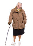 Old woman with a cane Royalty Free Stock Photos
