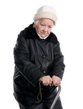 Old woman with a cane Stock Images