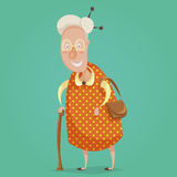Old woman cartoon character. Happy grandmother with stick and handbag. Royalty Free Stock Photography
