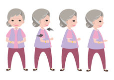 Old woman character exercise Royalty Free Stock Photography