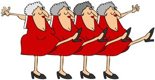 Old woman chorus line. This illustration depicts old women kicking their legs up in a chorus line Royalty Free Stock Image