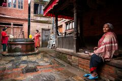 Old woman in Bhaktapur city