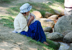 Old woman at civil war fest Stock Image