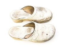 Old woman clogs Royalty Free Stock Image