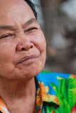 Old woman closes one's eyes. At chonburi thailand Royalty Free Stock Images