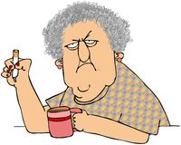 Old Woman With Coffee And Cigarette Stock Photography