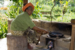 Old woman at coffee plantation. Stock Photos