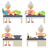 An old woman cooking Stock Photos