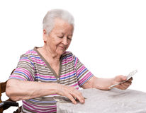 Old woman counting money Royalty Free Stock Photography