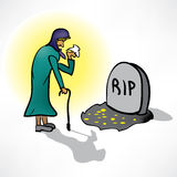 The old woman cries on grave Stock Photos
