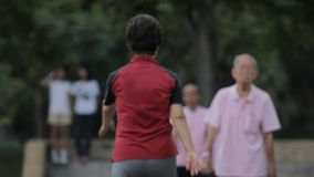 Old woman doing chinese aerobics in a park Royalty Free Stock Image