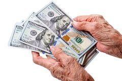 Old woman with dollars Stock Photo